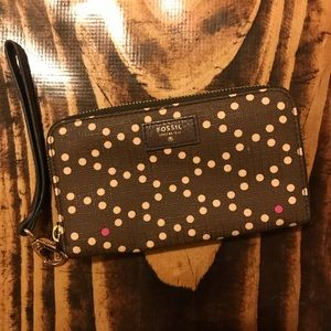 Brown and Pink Polka Dot Fossil Wristlet Wallet